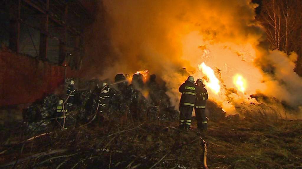 Požár odpadu v Arnolticích