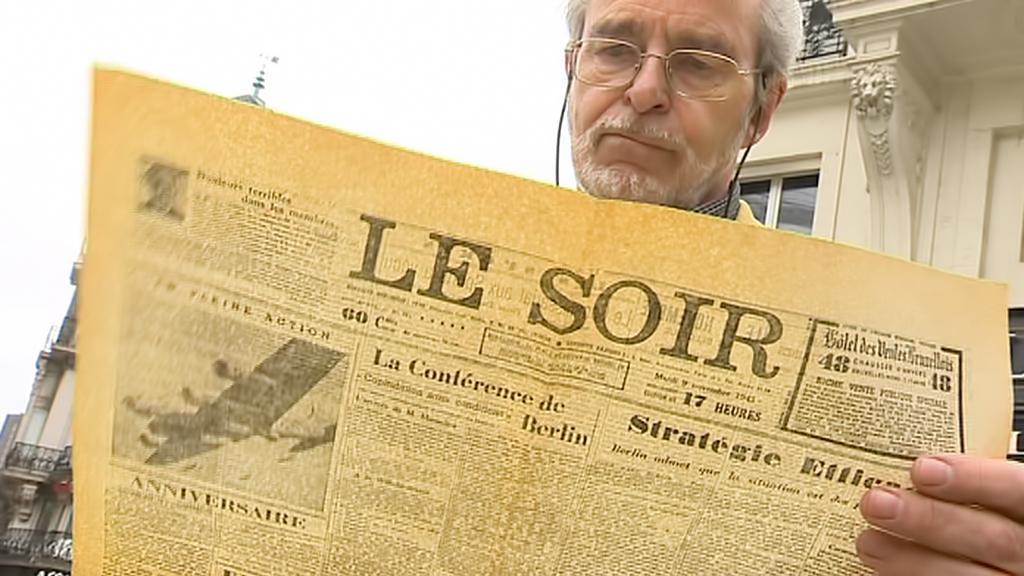 Edouard Reniére s falešným deníkem Le Soir z 9. listopadu 1943