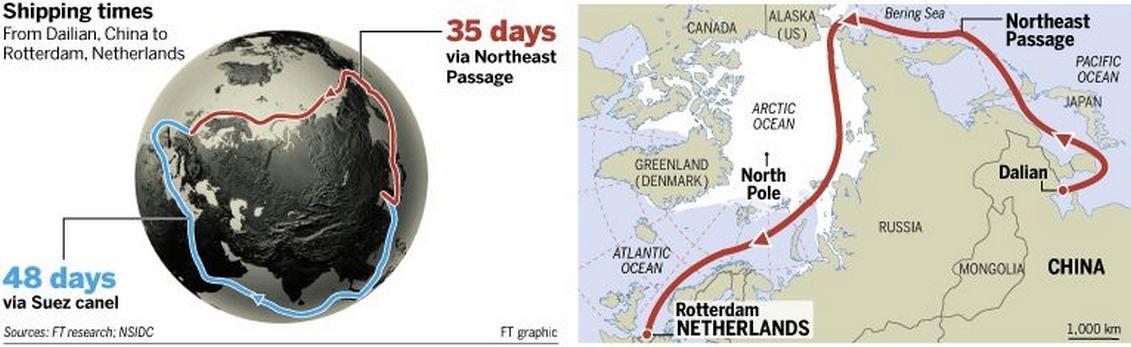 Severní cesta zboží z Číny podle Financial Times