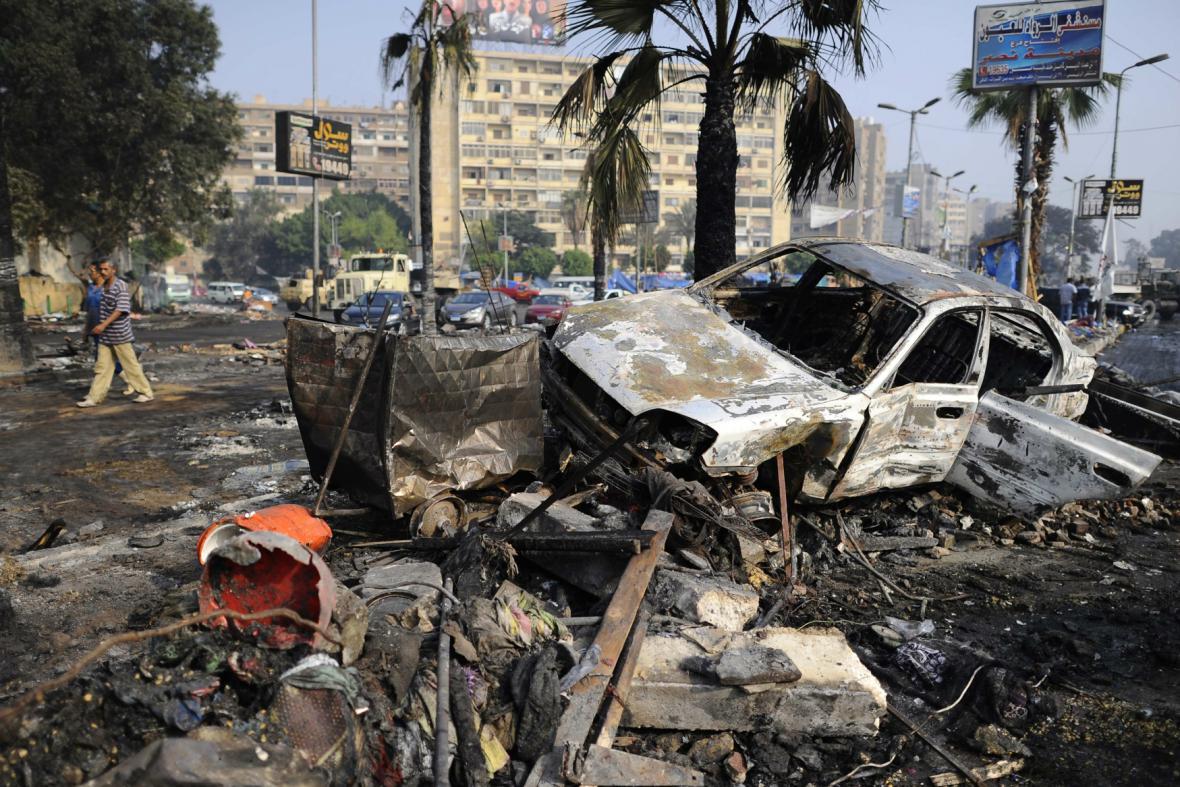 Následky nepokojů v centru Káhiry
