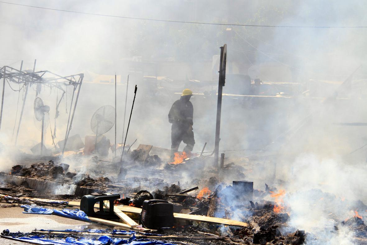 Vyklizený tábor Mursího příznivců