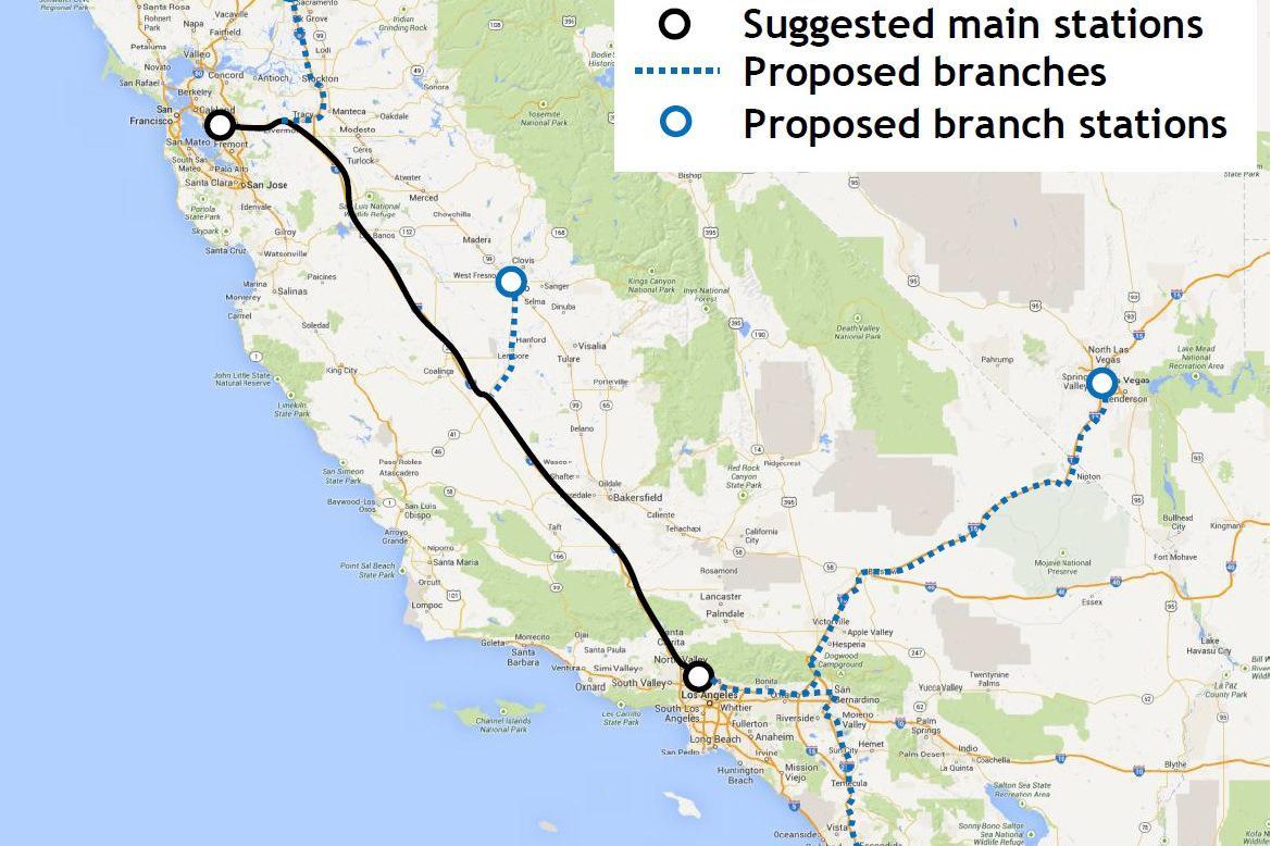 Plánovaná trasa Hyperloop
