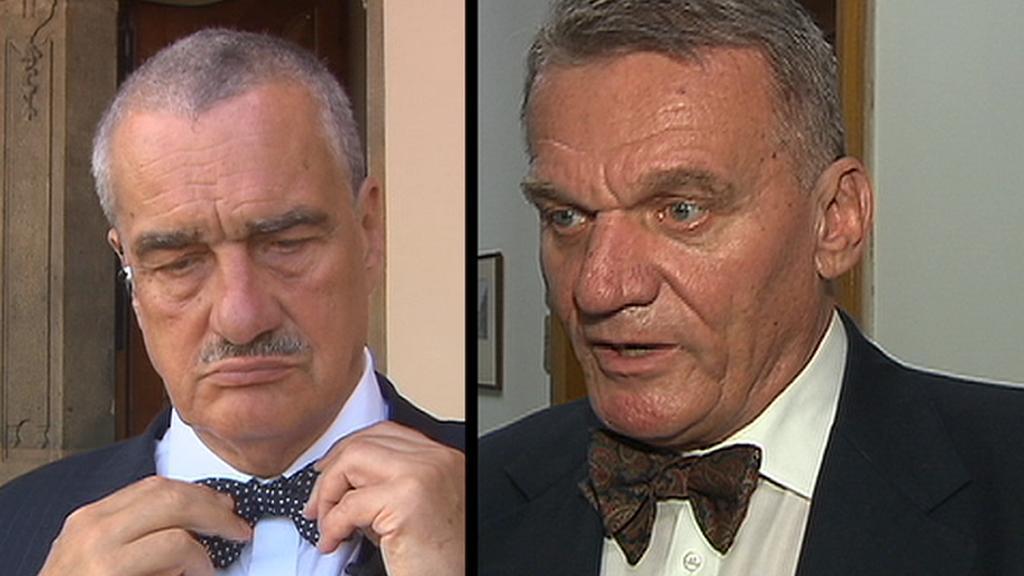 Karel Schwarzenberg (TOP 09) a Bohuslav Svoboda (ODS)