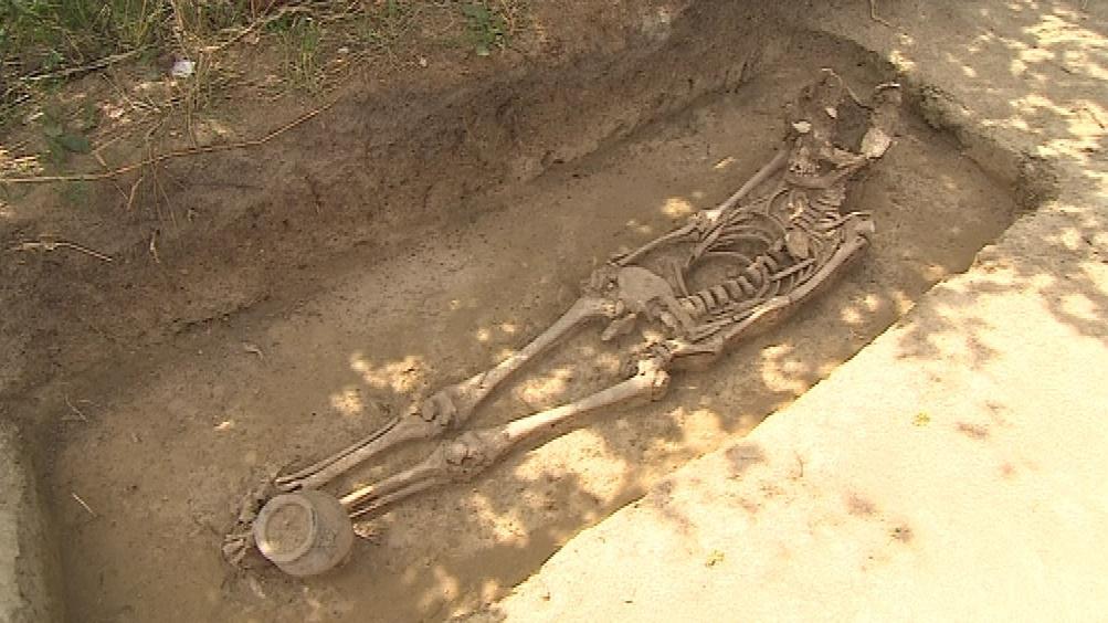 Hrobka odkrytá v Hradišti na Znojemsku