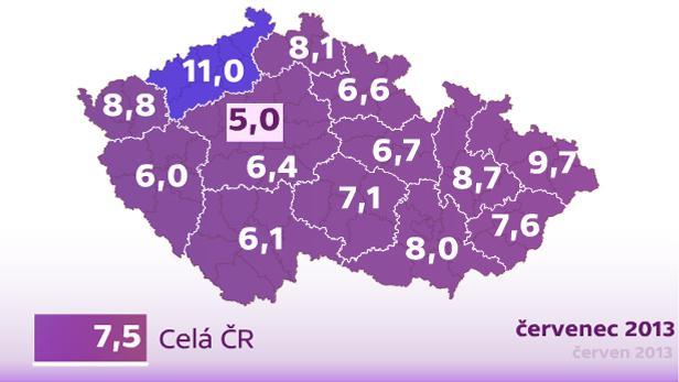 Mapa nezaměstnanosti v krajích ČR, červenec