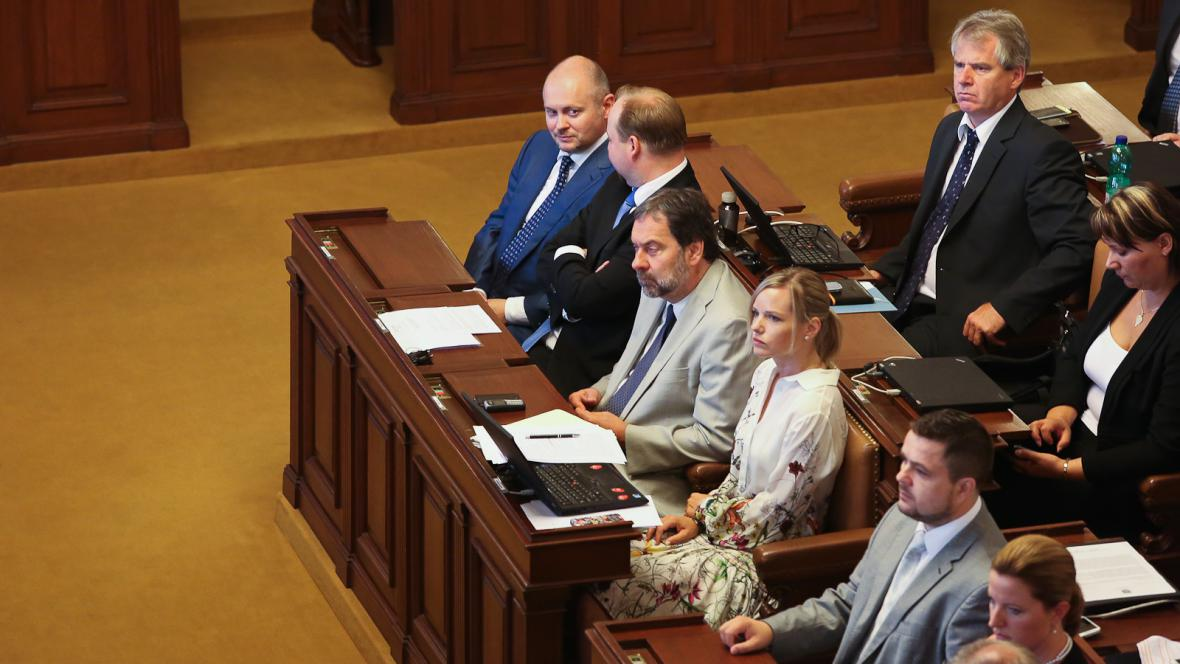 Poslanci při projevu prezidenta v Poslanecké sněmovně