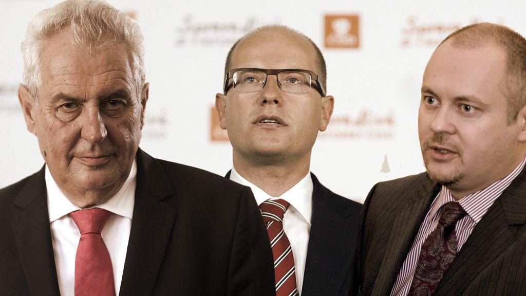 Miloš Zeman, Bohuslav Sobotka a Michal Hašek