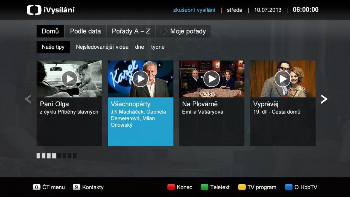 Aplikace iVysílání pro HbbTV