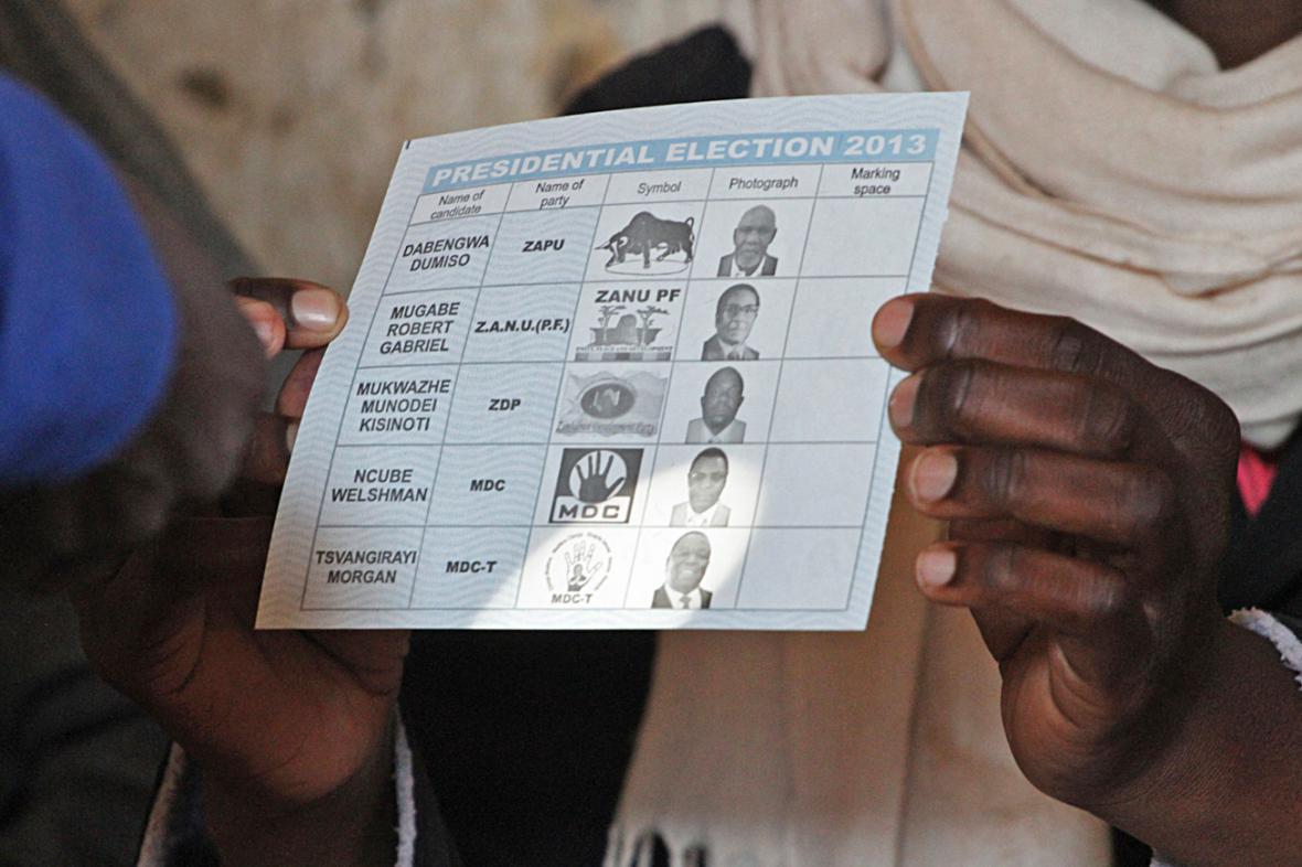 Volební lístek v Zimbabwe