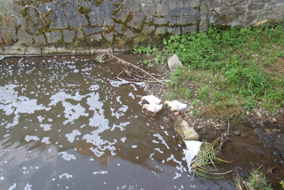 Na potoce se vytvořila bílá pěna