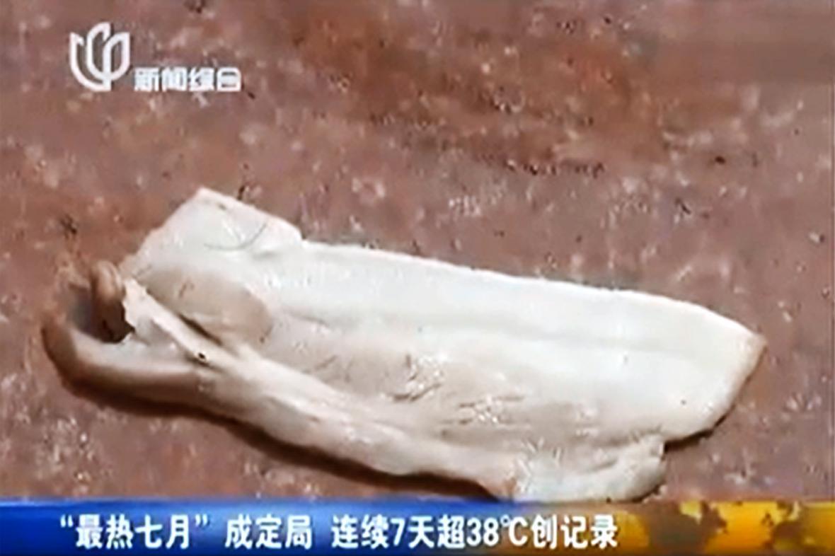 V Šanghaji na rozpáleném chodníku opekli vepřovou kotletu