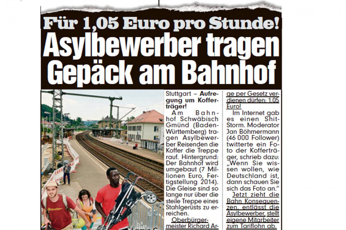 Deník Bild o azylantech ve Schwäbisch Gmünd