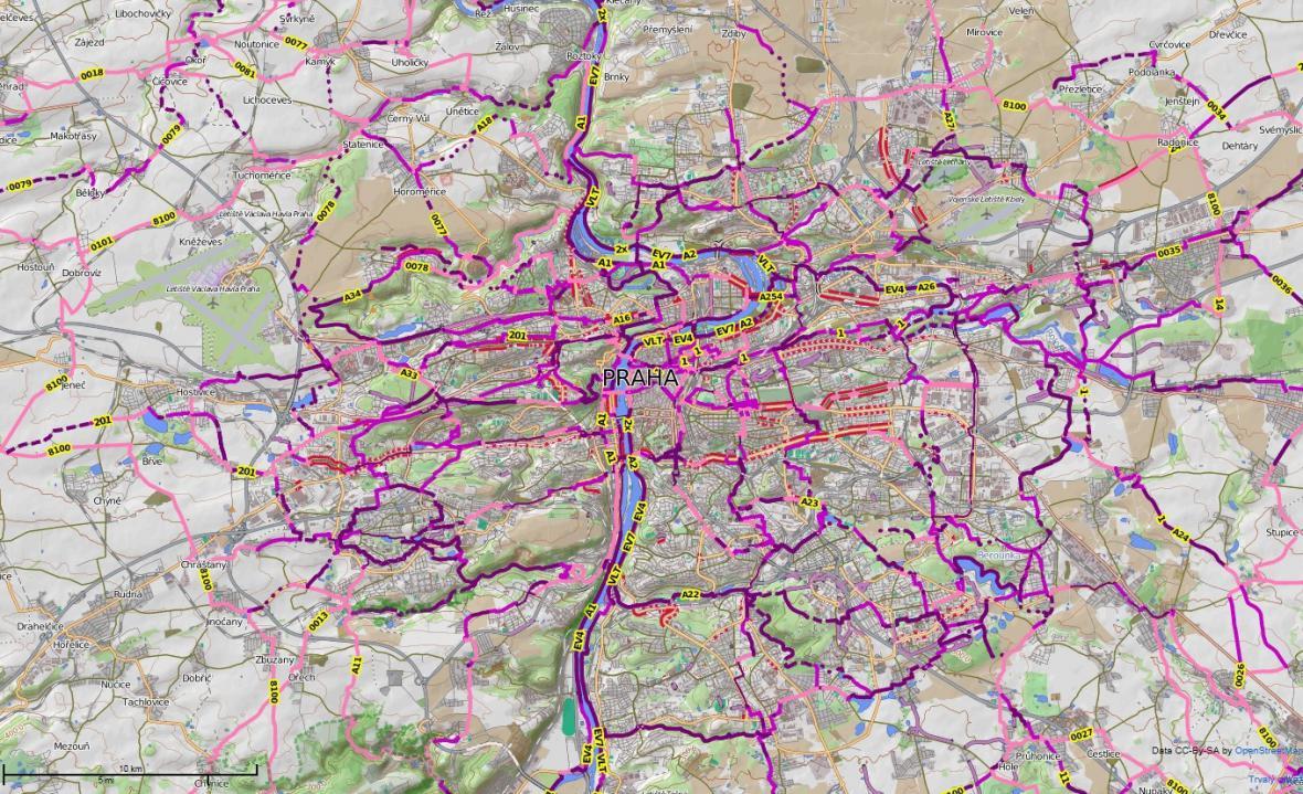 Mapa pražských cyklostezek