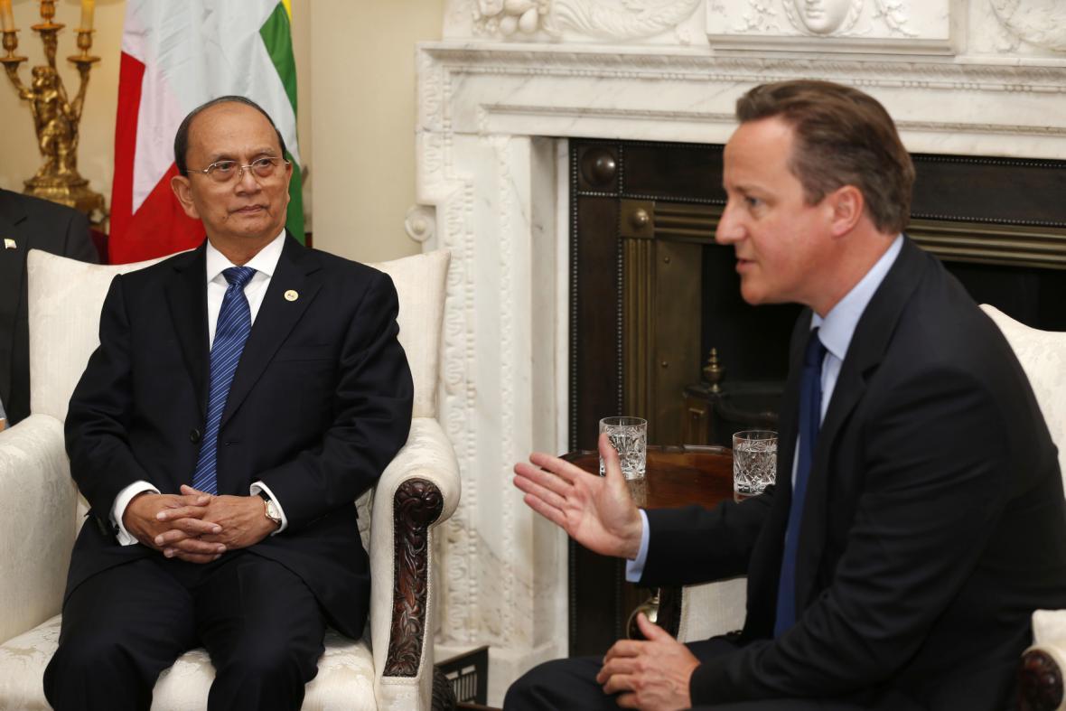 Barmský prezident Thein Sein u britského premiéra Davida Camerona