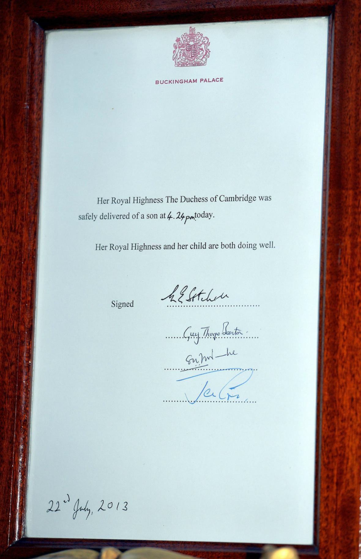 Oficiální oznámení narození královského potomka