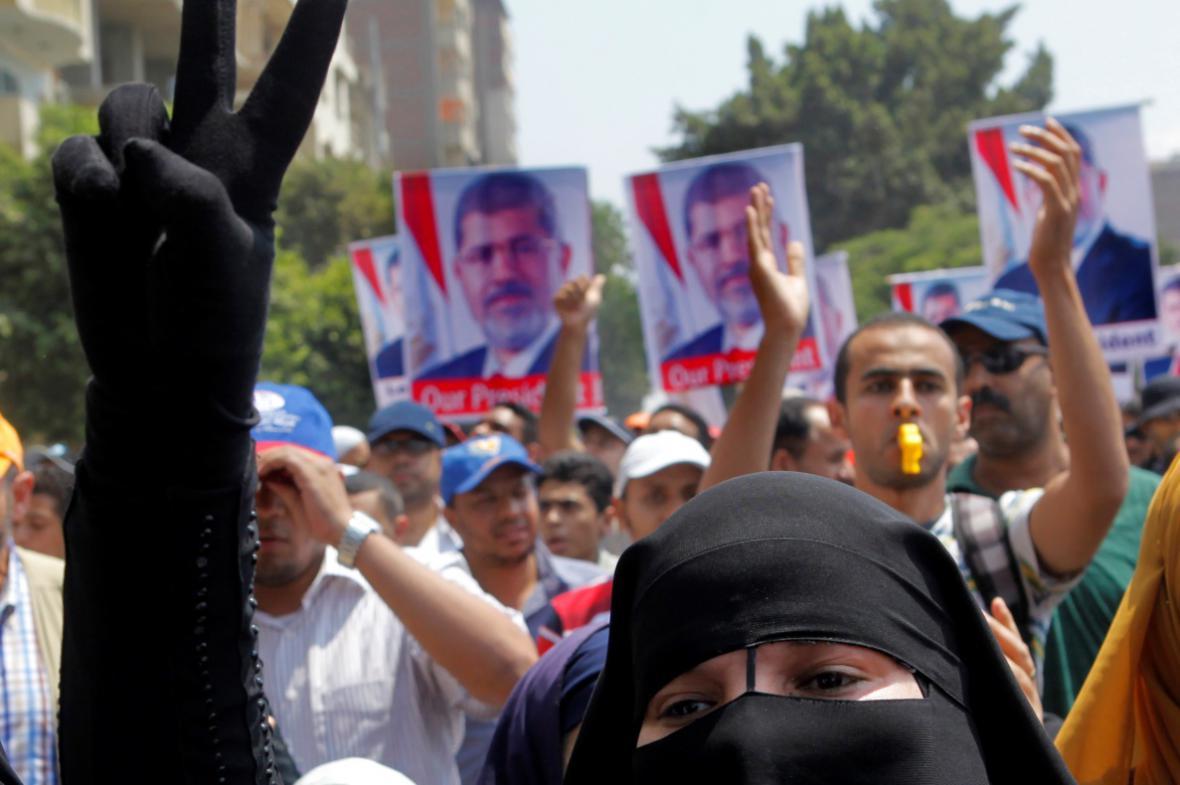Demonstrace na podporu Mursího v Egyptě