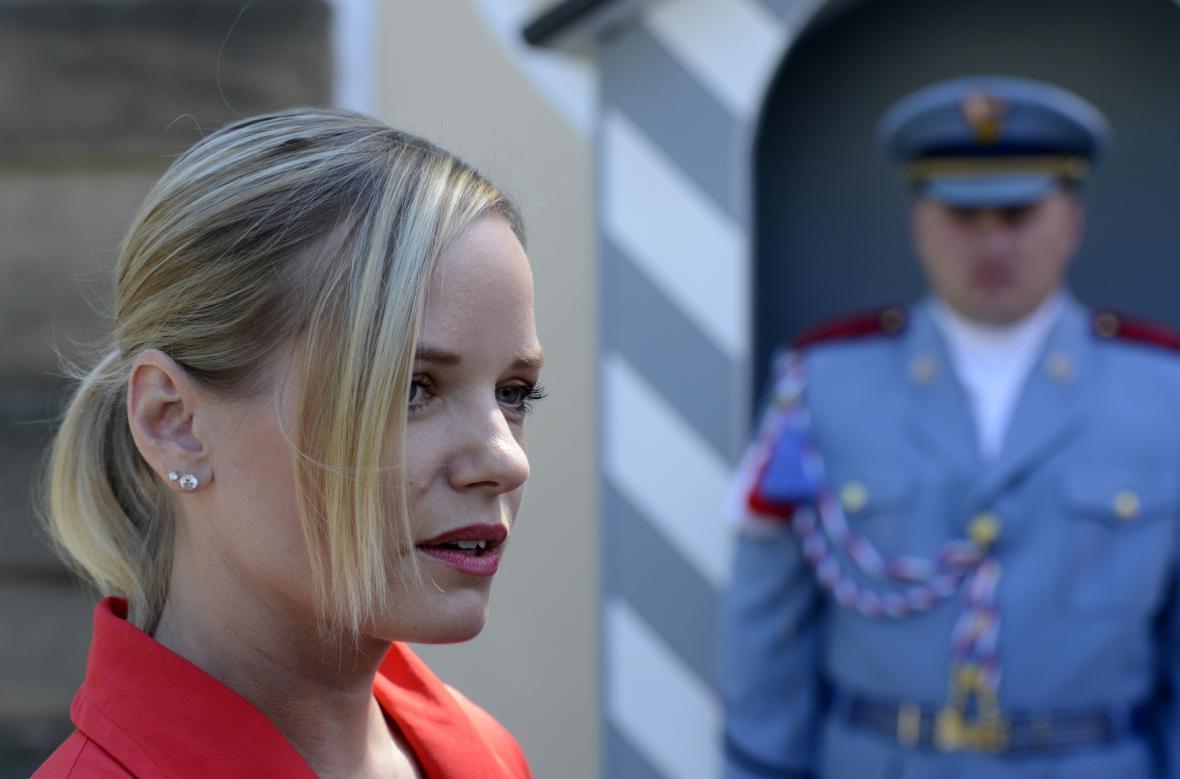 Kateřina Klasnová po jednání s prezidentem v Lánech