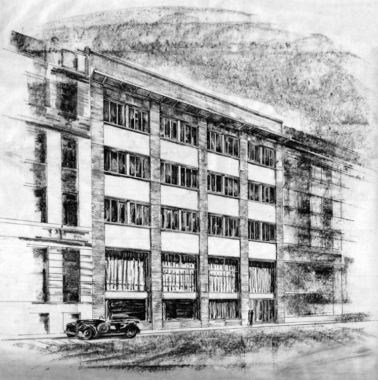 Skica nájemního domu s obchody na Běhounské