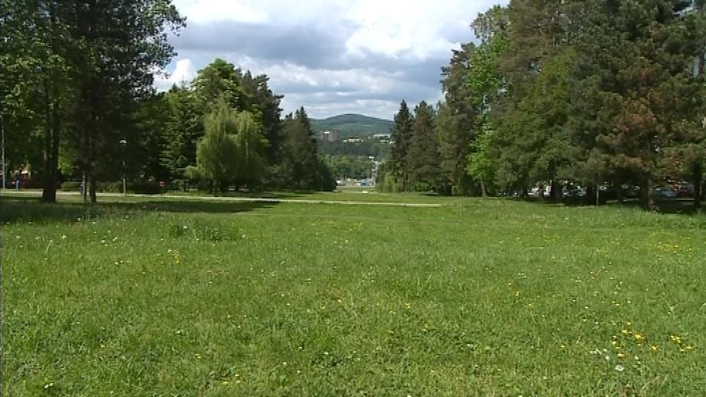 Zelená část Gahurova prospektu v centru Zlína