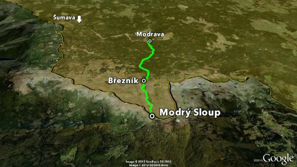 Plánovaná cesta na Modrý Sloup