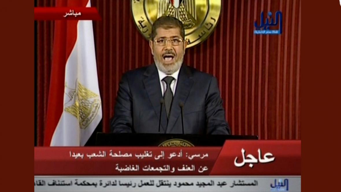 Muhammad Mursí při večerním projevu