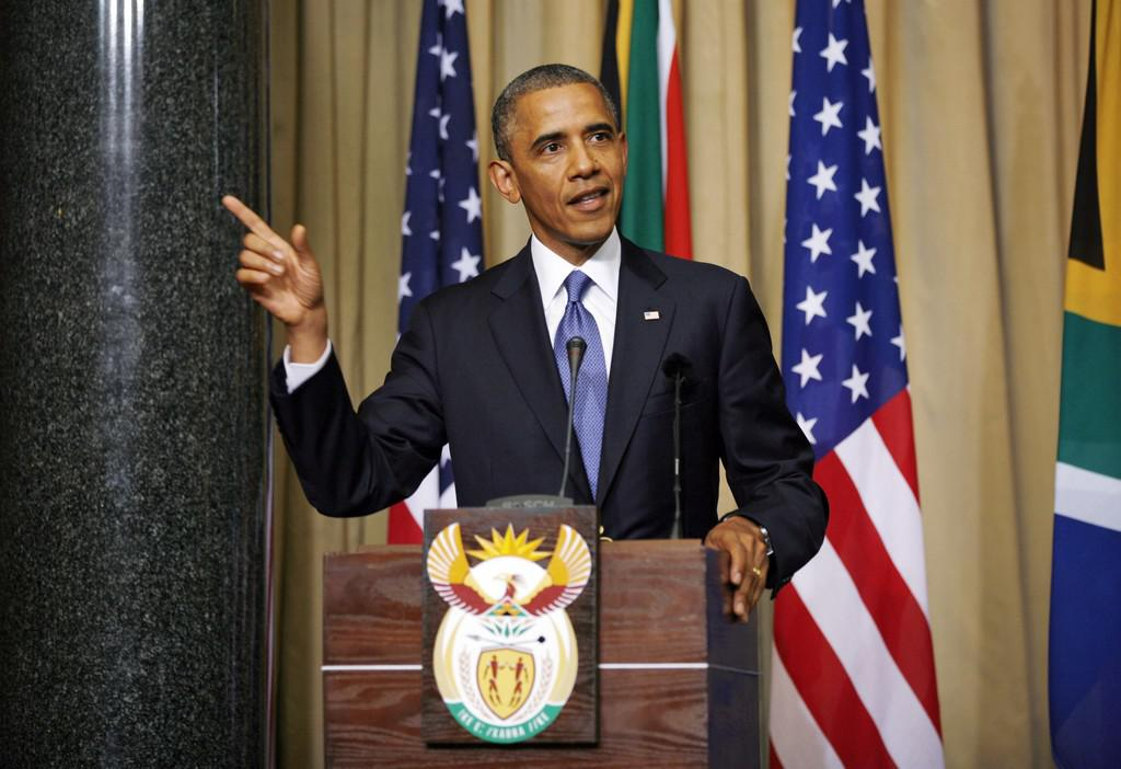 Barack Obama na tiskové konferenci v Pretorii