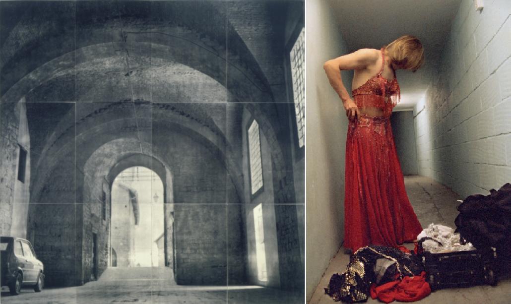 Fotografie Lorny Simpsonové (vlevo, 1995) a Ahlam Shibliové (2004-2006)