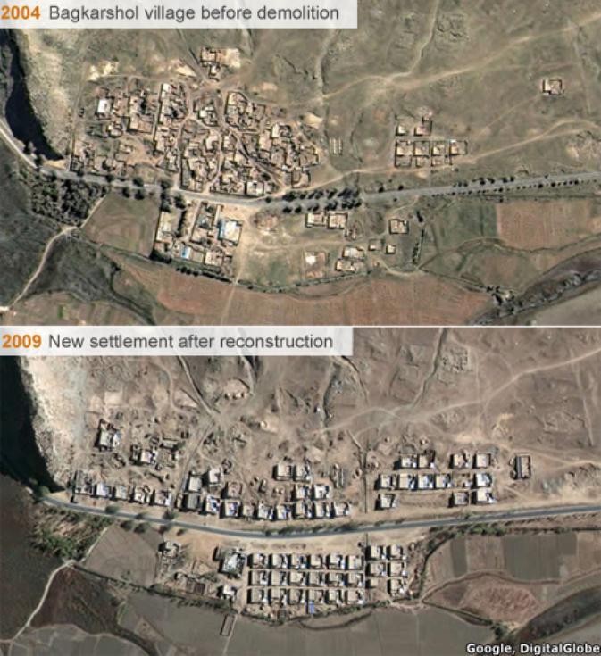 Přestavba jedné z vesnic na snímku Google Earth