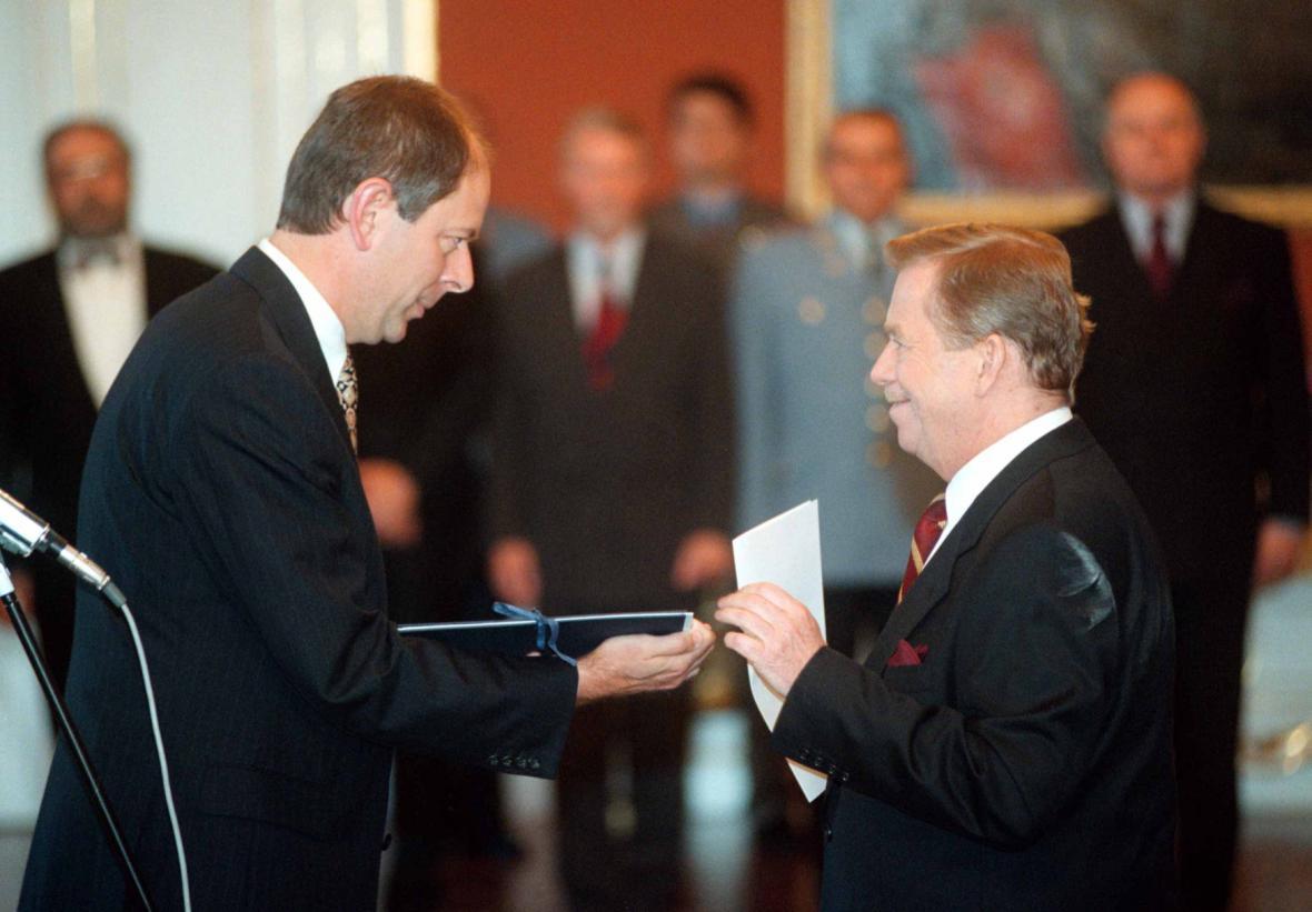 Premiér Josef Tošovský s prezidentem Václavem Havlem