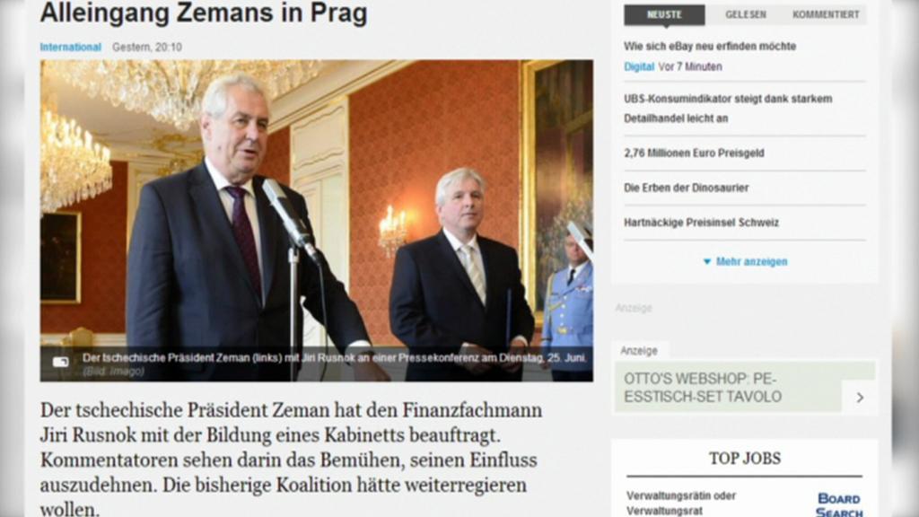Zahraniční tisk o rozhodnutí Miloše Zemana
