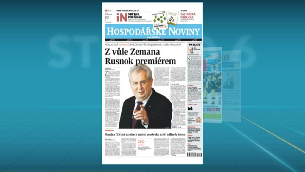 Deníky ke jmenování Rusnoka premiérem