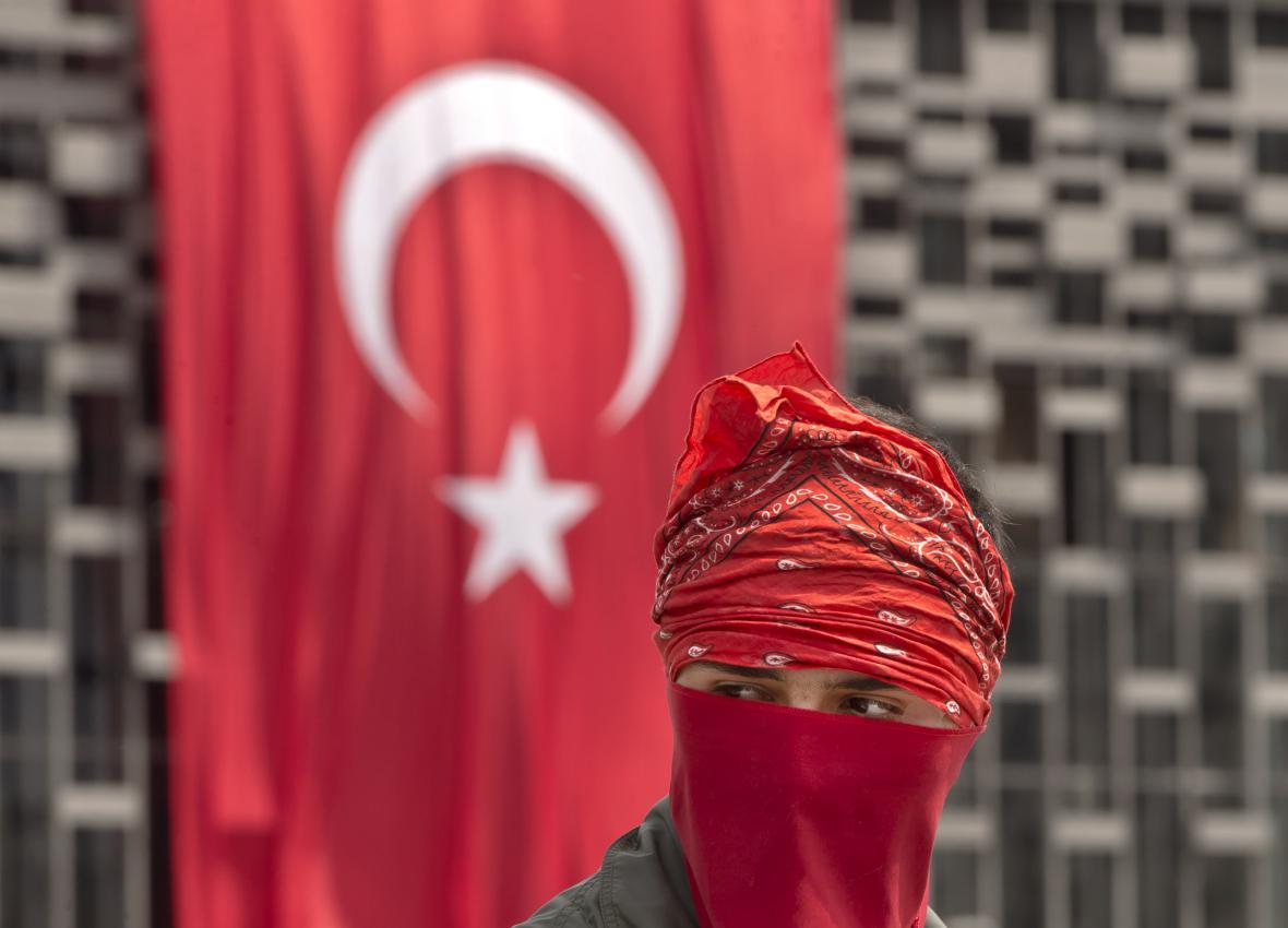 Turecký demonstrant
