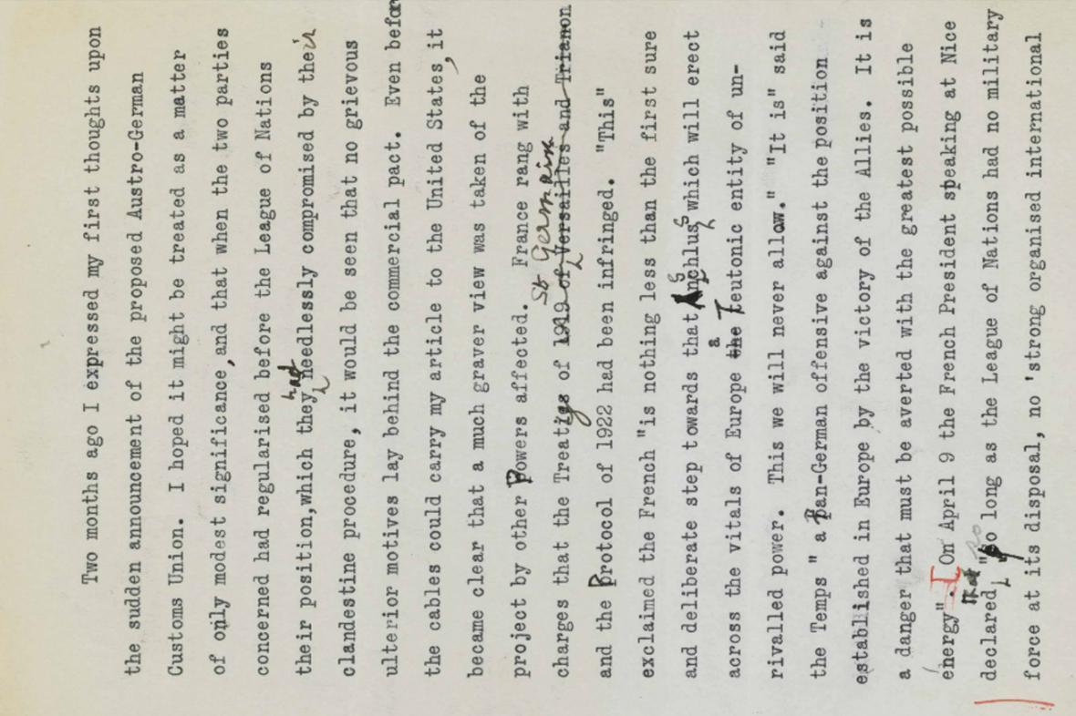 Christie's draží Churchillův text z května 1931