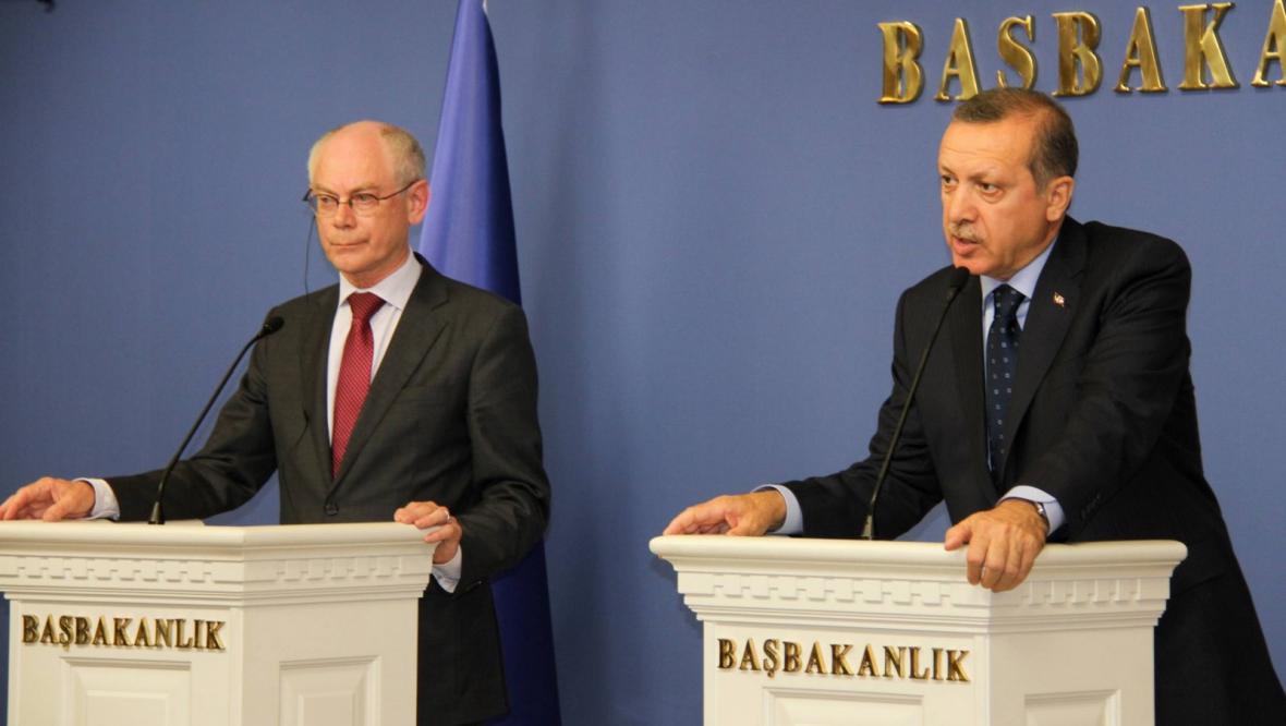 Prezident EU Van Rompuy a turecký premiér Erdogan
