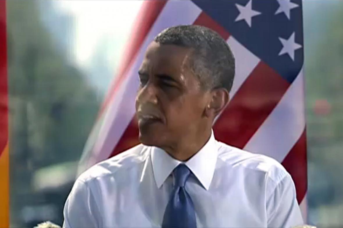 Barack Obama při projevu u Braniborské brány
