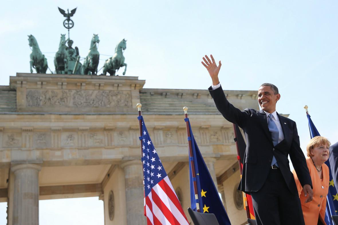 Obama před Braniborskou bránou