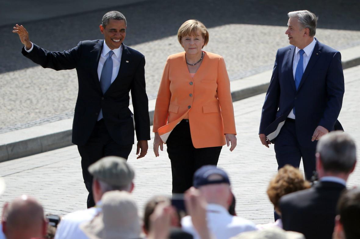 Obama, Merkelová a Wowereit