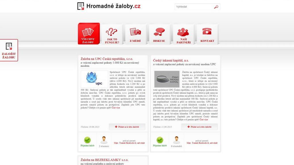 Web Hromadné žaloby.cz