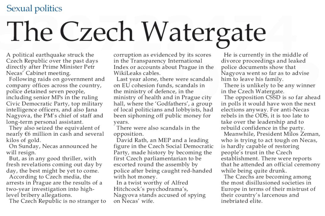 Malta Independent o politické krizi v Česku