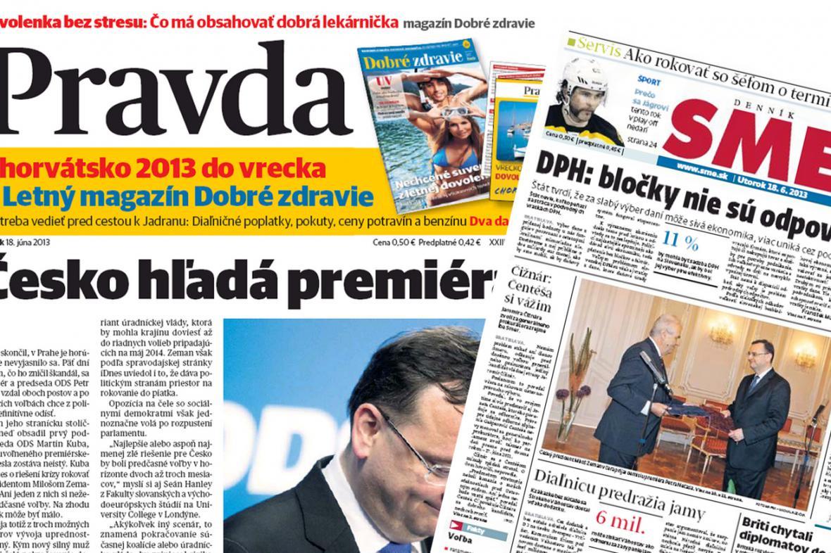 Slovenský tisk o pádu Nečasovy vlády