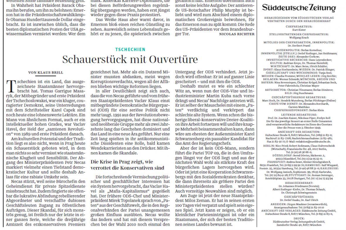 Süddeutsche Zeitung z 18. 6. k pádu premiéra Nečase