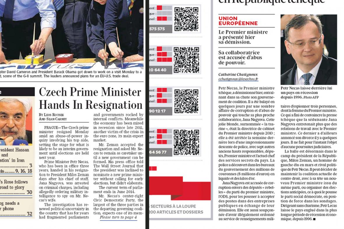 Wall Street Journal a Les Echos k politické krizi v ČR