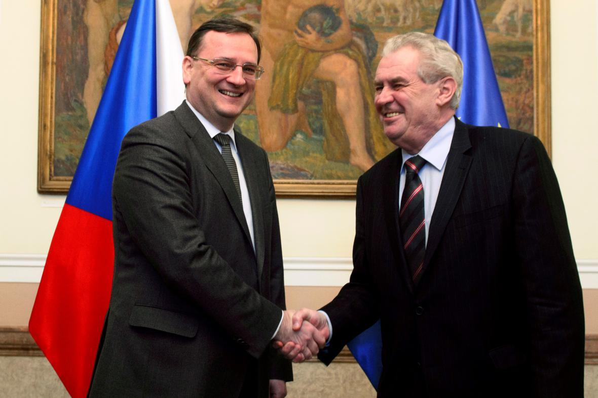 Petr Nečas a Miloš Zeman