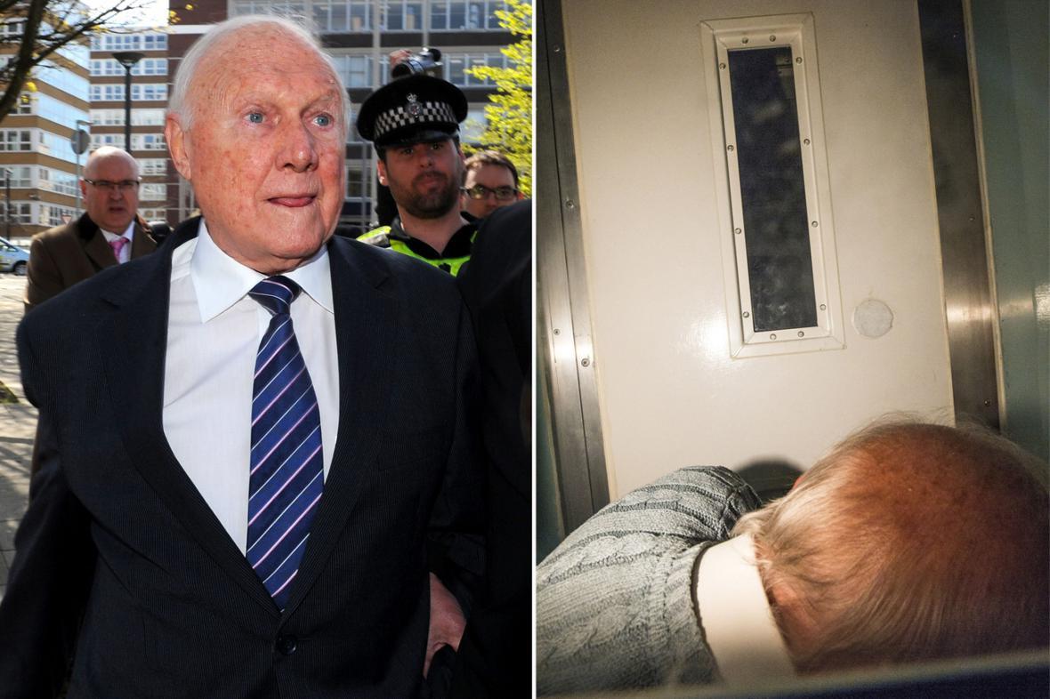 Stuart Hall při příchodu k soudu a v policejním antonu