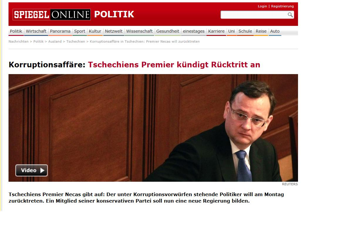 Spiegel o rezignaci Petra Nečase