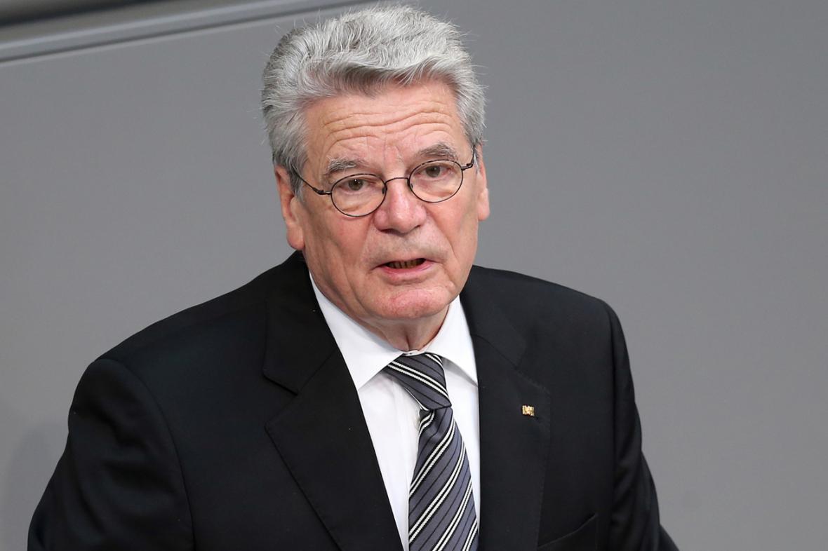 Joachim Gauck při projevu ve Spolkovém sněmu