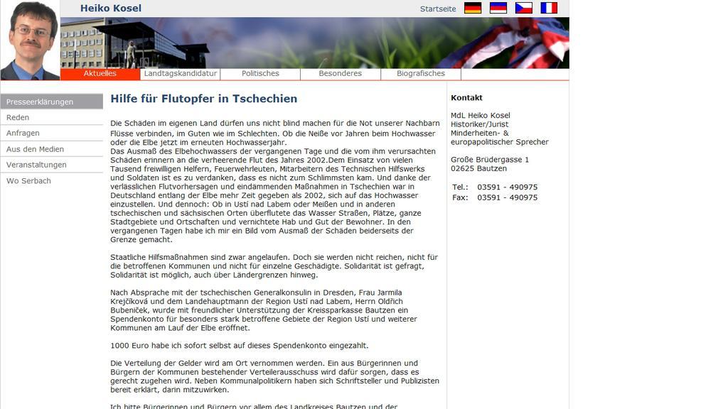 Heiko Kosel vyzývá Němce ke sbírce pro vytopené Čechy