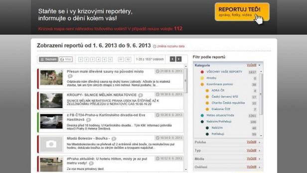 Krizová mapa ČT - detail reportů