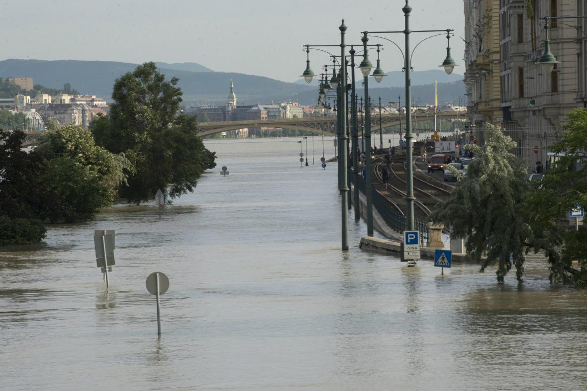 Zaplavené centrum Budapešti