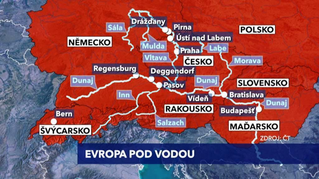 Povodňová mapa Evropy